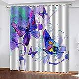 WTBDWOSH® Cortina Opaca En Cocina El Salon Dormitorios Habitación Infantil 3D Impresión Digital Ojales Cortinas Termica - Mariposa Azul Animal - 220X215 Cm (Lxh)