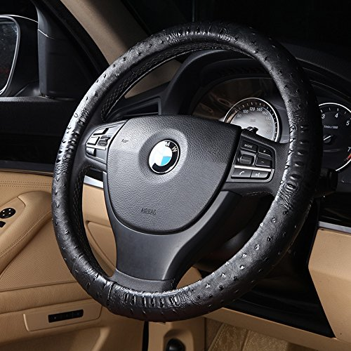 Follicomfy Car Auto Steering Wheel Cover,Diameter 15 Inch,Four Seasons General,Black Ostrich Grain Leather