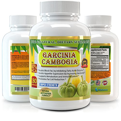 Garcinia Cambogia Extract 180 Capsules, 80 Percent HCA, 1500 milligram, Premium Quality, Highest Potency, 3 Months' Supply, Best Value on Market, Weight Loss Quick with Max Fat Burner