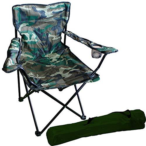 FineHome visstoel, campingstoel, vouwstoel, visstoel, regiestoel, incl. bekerhouder en tas camouflage