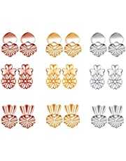 AFASOES 9 par örhängen rygglyftare, magiska örhängen ryggar justerbara allergivänliga örhängen ryggar lyft låsande örhänge ryggar fjäril baksida örhängen för örsnibblyftare (silver, roséguld, guld)