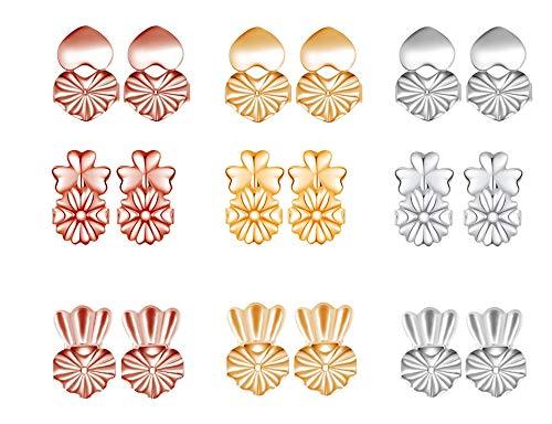 AFASOES 9 Pares Levantadores de Pendientes Hipoalergénicos Magic Earring Backs Lifters Cierres Pendientes Hipoalergénicos Ajustables Earring Back Support Levanta Pendientes para Orejas Caídas, 3 Color