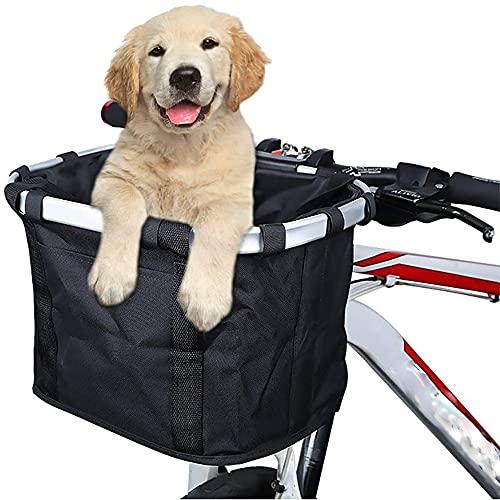 JYZ Cesta Delantera, Cesta Frontal Plegable, Portador De Mascotas De Bicicleta, Canasta De Mascotas para Bicicletas, Cesta De Manillar De Bicicleta Desmontable, Mascotas con Marco De Marco De Marco