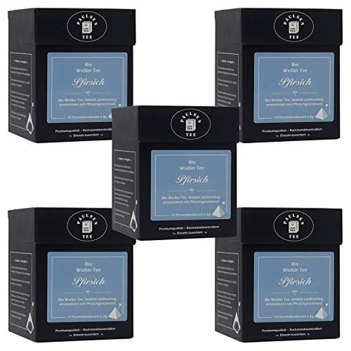 Bio Pfirsich 5 x 45g (127,78 Euro / kg) Paulsen Tee Weißer Tee im Pyramidenbeutel - Bio, rückstandskontrolliert & zertifiziert