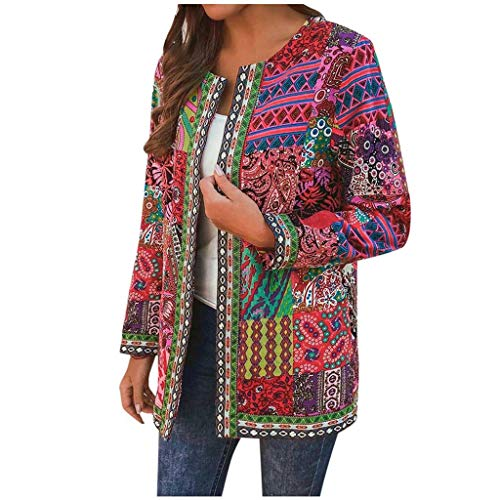 VEKDONE Women Open Front Cardigan Jackets Casual Ethnic Style Colourful Loose Kimono Cardigan Tops Outwear with Pocket(Red,6X-Large)
