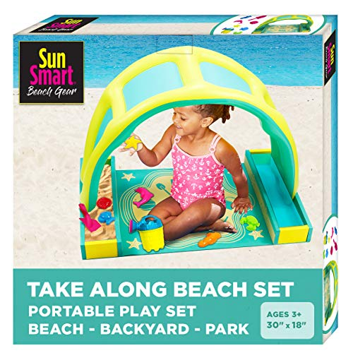 SwimSchool Indoor/Outdoor Kiddie Activity Play Set with Eight 8 Toys Foldable/Portable TakeAlongBeachTime Play Set with UPF50 Canopy