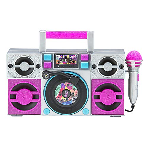 LOL Surprise OMG Remix Karaoke Machine Sing Along Boombox with Real Karaoke Microphone for Kids, Built in Music, Flashing Lights, Record, Turntable with Sound Effects, Connect Device