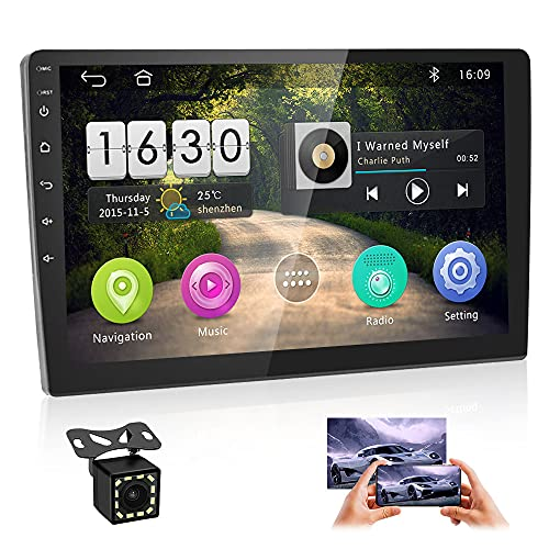 Car Stereo Double Din Android 8.1 GPS Navigation Stereo 2G 16G Indash Head Unit 10'' HD 1080P Touch Screen Car Radio Bluetooth WIFI FM Radio Receiver USB MP5 Player Mirror Link SWC+12 LEDs Rear Camera