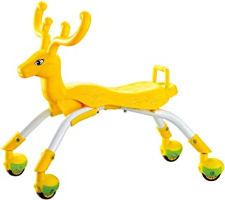 Learning To Walk Toys, Rolling Baby Walker With 4 Swivel Wheels, Kids Ride On Toys For 1 Year Old Girl And Boy, Foot to Floor Ride On Balance Toddler Bike, Birthday Gifts (Orange Reindeer)