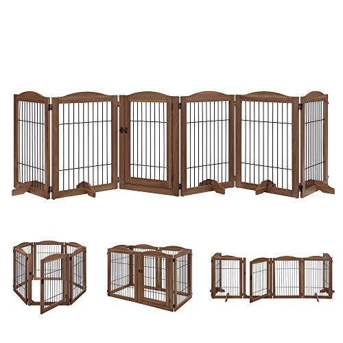 unipaws Pet Playpen with Wood and Wire, 6 Panels Extra Wide Freestanding Walk Through Dog Gate with 5 Support Feet, Foldable Stairs Barrier Pet Exercise Pen for Dogs Cats