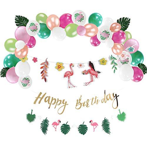SUNBEAUTY Flamingo Cumpleaños Decoración Conjunto Tropical Hojas Guirnalda Happy Birthday Banner Guirnaldas Tema Selva Globo Fiesta