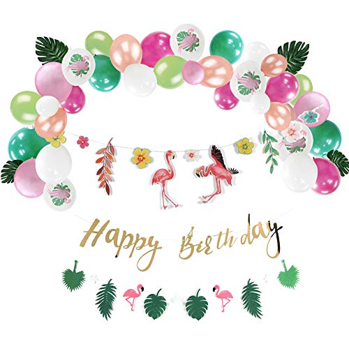 Sunbeauty Flamingo Verjaardagsdecoratieset, tropische bladeren, slinger, happy birthday, banner, jungle, party, ballonnen