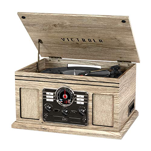 Victrola Nostalgic 6-in-1 Bluetooth Record Player & Multimedia Center with Built-in Speakers - 3-Speed Turntable, CD & Cassette Player, AM/FM Radio   Wireless Music Streaming   Farmhouse Oatmeal
