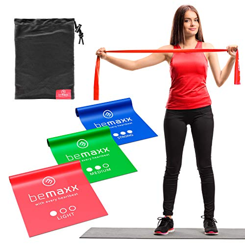 Fitnessbänder 3er Set - Extra lange 2m Widerstandsbänder + Trainings-eBook | Gymnastikband Fitness Band Gummiband | Trainingsband Resistance Sportband Miniband elastisch Krafttraining Pilates Yoga