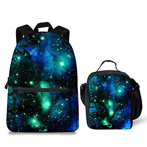 Vintage Space Galaxy Design Backpack for Laptop School Rucksack Daypack Bag with Thermal Lunchbox