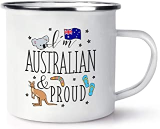 I'M Australian And Proud Retro Enamel 11 oz Ceramic Glossy Mug With C-handle - Australia Flag