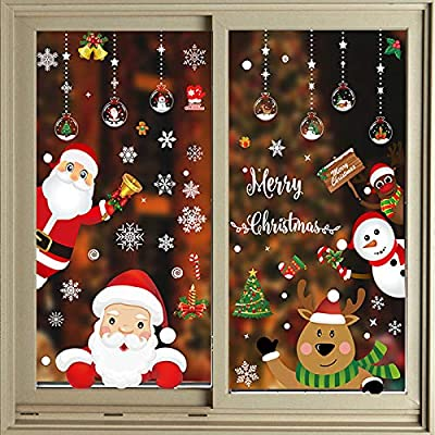160 PCS 8 Sheet Christmas Window Clings,Xmas Decals Decorations Holiday ,Snowflake Santa Claus Reindeer Stickers for Christmas Window Descoration