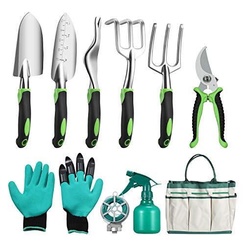 Ougenni 10 Pieces Garden Tools Set,Durable Gardening Tool Kits Indoor and...