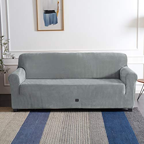 Furlinic Sofabezug Elastisch Stretch Kuschel Überzug für 3 Sitzer Sofa in Wohnzimmer Plüsch Couchbezug Waschbar Grau 185 bis 235cm.