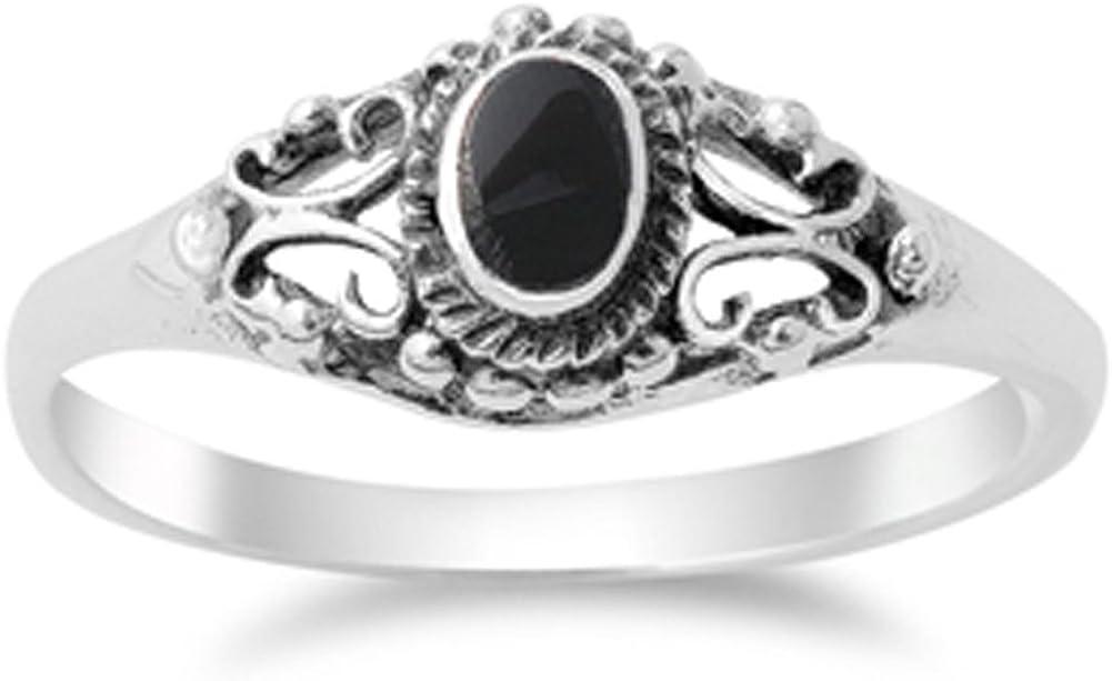 Women's Vintage Design Simulated Black Onyx Ring New .925 Sterli