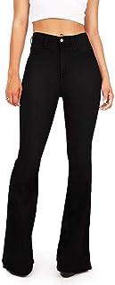 6d213f4e7364 TENGFU Women s Fashion High Rise Slimming Wide Leg Stretch Denim Flare  Bellbottom Jeans
