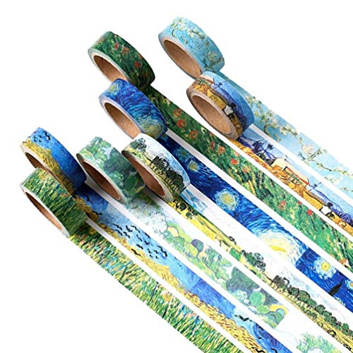 PiniceCore Nastri 4 Pezzi a Caso Washi DIY Pittura del Van Gogh di Carta Nastro Adesivo Nastri Adesivi Decorativi Scrapbooking Adesivi Formato 15mm * 7m