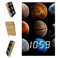 寝室用デジタル目覚まし時計キッチンオフィス3アラーム設定ラジオ木製卓上時計-ユニバースソーラーシステム