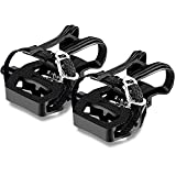 JRCOEGE SPD Pedals for Spin Bike, Compatible with SPD 9/16'' Pedals, Spin SPD Pedal with Toe Cage and Straps for Peloton Pedals, Spin Bike, Exercise Bike and Indoor Cycling Bike