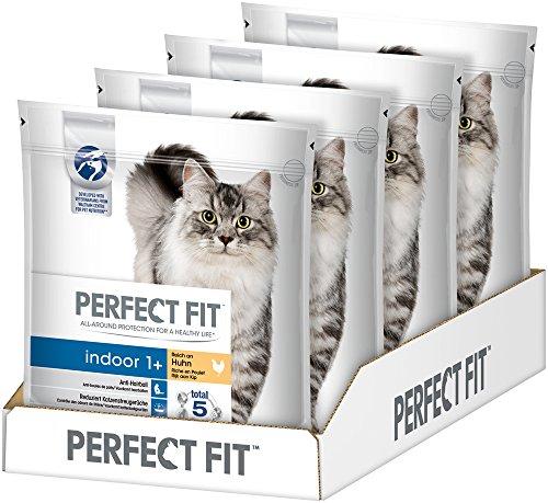 Perfect Fit Kattenvoer Droge Voering Binnen Voor Katten Volwassenen 1+ Rijk Aan Kip, 4 Zakken (4 X 1,4 Kg)