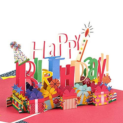 Holijolly Biglietto Di Auguri Pop-Up Per Compleanno - Biglietto Pop-Up 3D, Scritte Di Buon Compleanno E Scatole Regalo Colorate Biglietto Pop-Up Di Design Per Festa Per Bambini - 15 cm X 20 cm