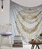 Raajsee - Tapiz de pared indio psicodélico con mandala, de color dorado metalizado y blanco, estilo bohemio y hippie, tamaño grande, hecho de algodón