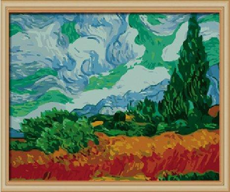 Bricolage numérique toile peinture à l'huile de décoration par les kits numériques à travers le monde Peinture à l'huile célèbre Un Champ de blé avec des cyprès par Van Gogh 16 * 20 cm.
