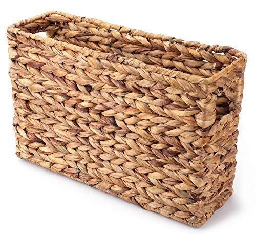 Yesland Magazine Cesta de jacinto de agua – 15-1/4 × 4-7/8 × 9 – 7/8 pulgadas – Revistero tejido natural para el hogar y la oficina