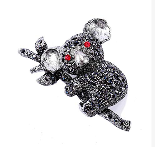 N\A Koala Rhinestone Pin Vintage Metal Animal Brooch Women Man Banquet Brooches and Pins Jewelry Scarf Clip Accessories