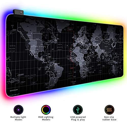 Erweiterte RGB-Mauspadmatte, große Bürotisch-Schreibtischmatte Gaming-Beleuchtung LED-Mauspad für PC-Computer MacBook-Tastatur Wasserdicht rutschfest - 31,5 '' x 11,8 '(RGB Welt)