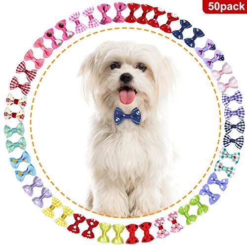 NATUCE Perro Arcos de Pelo 50 Pcs Lazos para el Pelo de Mascotas con Bandas de de Goma, Accesorios para el Pelo para Perro Mascota y Perrito