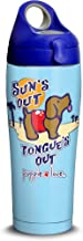 Tervis 1315351 Puppie Love-Sun's Out Tongue's Out Stainless Steel Insulated Tumbler with Blue with Gray Lid, 24oz Water Bottle, Silver