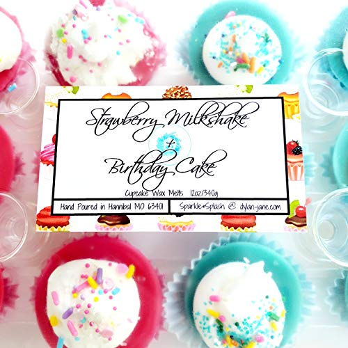 Strawberry Milkshake and Birthday Cake Soy Wax Melt Cupcakes 12oz Scented Tarts for Warmers