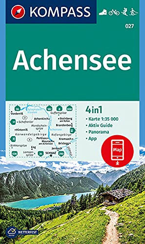 KOMPASS Wanderkarte Achensee: 4in1 Wanderkarte 1:35000 mit Panorama und Aktiv Guide inklusive Karte zur offline Verwendung in der KOMPASS-App. ... Langlaufen. (KOMPASS-Wanderkarten, Band 27)