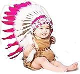 KARMABCN N10 Sombrero Indio para Bebé de 9 a 18 Meses Diametro de 18,5 Pulgadas / 47 cm Rosa