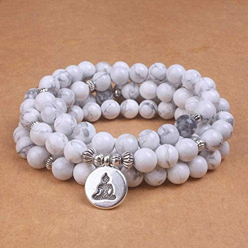 WSBDZYR Co.,ltd Collar de Moda para Mujer, Pulsera de Howlita Blanca con Lotus Om Buddha, Pulsera de Yoga para Hombre, 108 Collar Mala