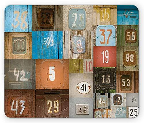 Moderne Mausunterlage, rostige Wohnung Plakate einst unter dem Motto Haustür Nummernschilder, Standardgröße Rechteck rutschfeste Gummi-Mousepad, Multicolor