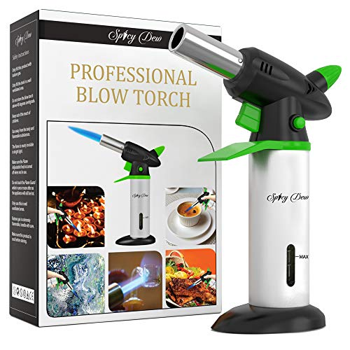 Spicy Dew Blow Torch - Creme Brulee Torch - Refillable Professional Culinary Kitchen Torch with...