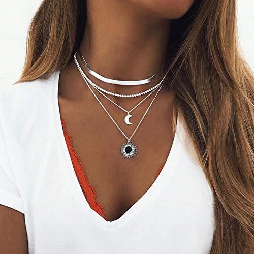Ybyifs Collar largo bohemio de múltiples capas para mujer con perlas de imitación, collar de declaración, joyería