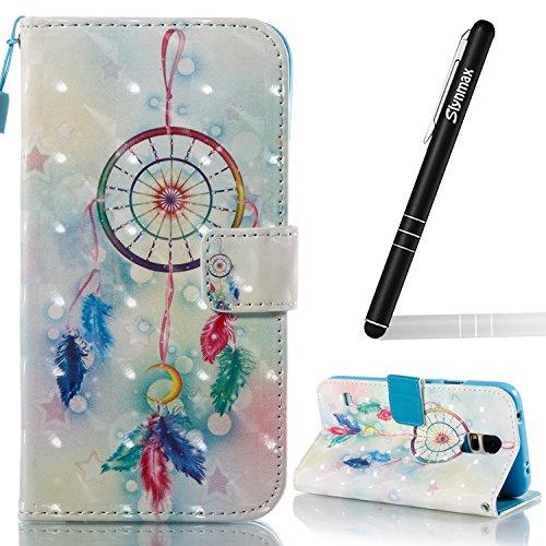 Slynmax Leder Schutzhülle Kompatibel mit Samsung Galaxy S5 Tasche Flip Case Handyhüllen Ledertasche Wallet Brieftasche Tasche Schutzhülle mit nfach Stand für Samsung Galaxy S5,Feder Campanula
