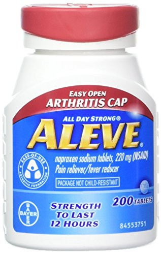 Aleve Tablets with Easy Open Arthritis Cap, Naproxen Sodium, 220mg (NSAID) Pain Reliever/Fever Reducer, 200 Count (Pack of 2)