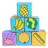 Zengkei Bebé Suave Paño Educativo Bloques, Juguetes Educativos Con Digital Fruta Clima Daily Necesidades Patrón Aprendizaje Actividad Herramientas Mano Agarre Cubos para Niños, 6 Piezas / Set