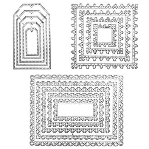 3 conjuntos de troqueles de corte para la fabricación de la tarjeta, FineGoodla geometría de corte de metal bricolaje Marcos Die Troquelados Plantillas para Scrapbooking Decoración del álbum