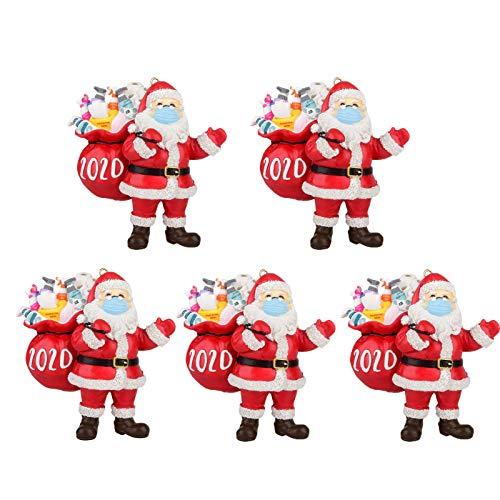 2020 Santa Claus Ornaments, 2020 Christmas Ornament Covid Santa Wearing Mask in Quarantine! Keepsake Unique Luxury Ornament for Tree (5PC)