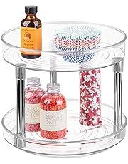 mDesign Lazy Susan kryddhylla – 2-lagers köksförvaringsenhet med roterbara hyllor av plast – perfekt för användning som kryddhållare, kryddhylla och mer – vit/silver